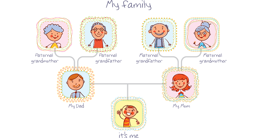 Image showing family tree with picture of relatives in a vector format.