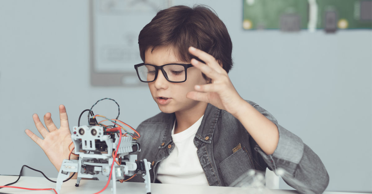 Image Showing a young boy playing with robot.